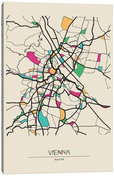 Vienna, Austria Map Canvas Art Print