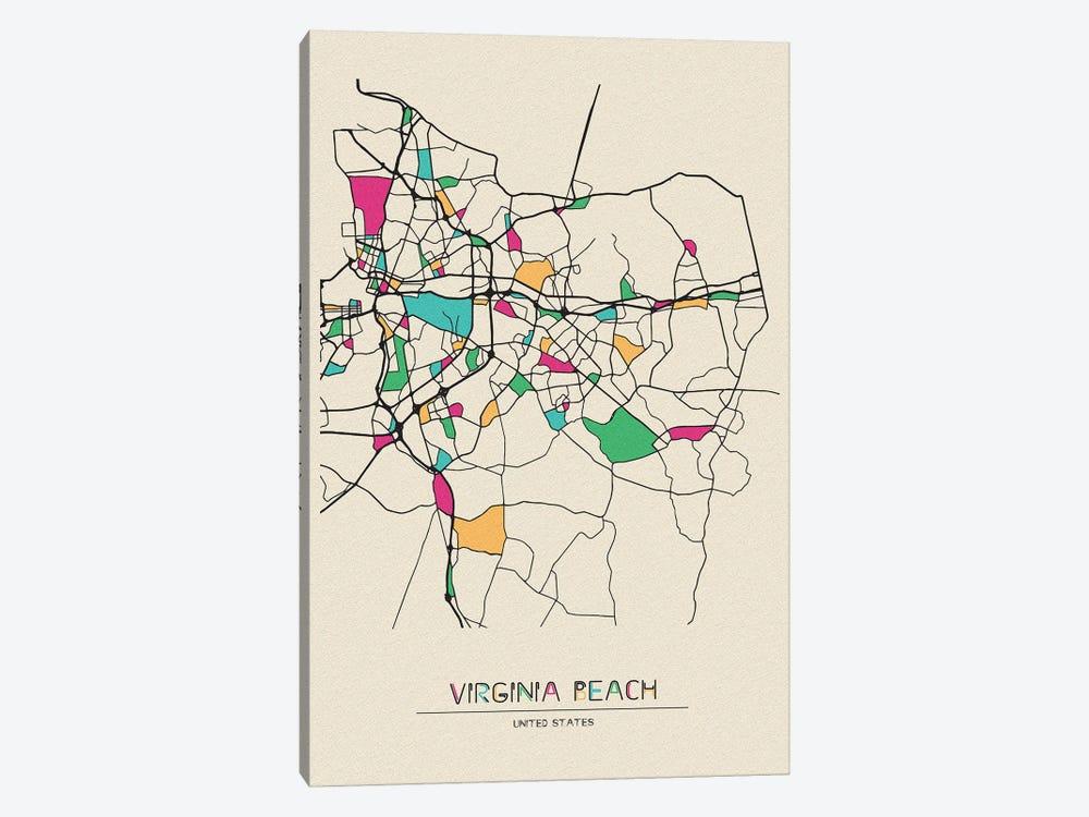 Virginia Beach, Virginia Map by Ayse Deniz Akerman 1-piece Canvas Art