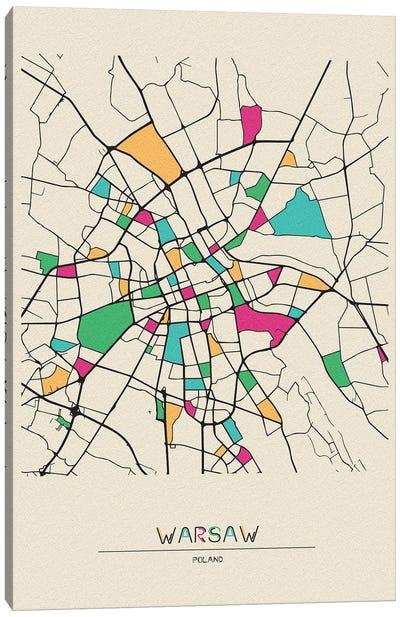 Warsaw, Poland Map Canvas Art Print