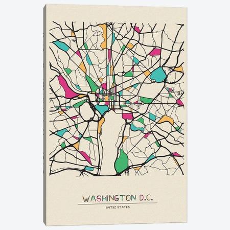Washington D.C., Usa Map Canvas Print #ADA710} by Ayse Deniz Akerman Canvas Art Print