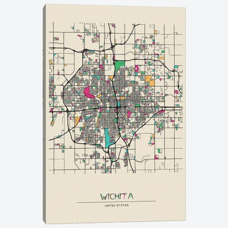Wichita, Kansas Map Canvas Print #ADA712} by Ayse Deniz Akerman Canvas Art Print