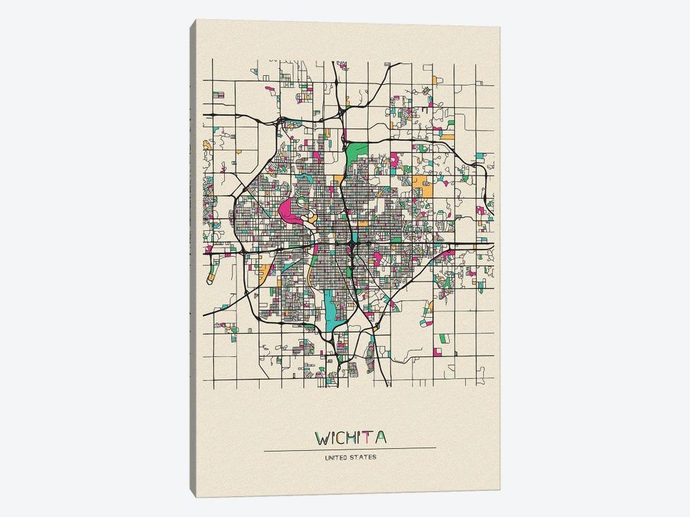 Wichita, Kansas Map by Ayse Deniz Akerman 1-piece Canvas Art Print