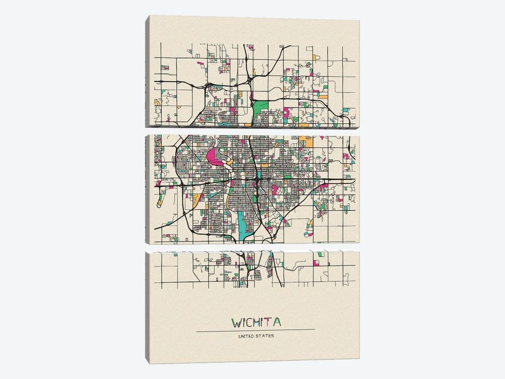 Wichita, Kansas Map by Ayse Deniz Akerman 3-piece Canvas Art Print