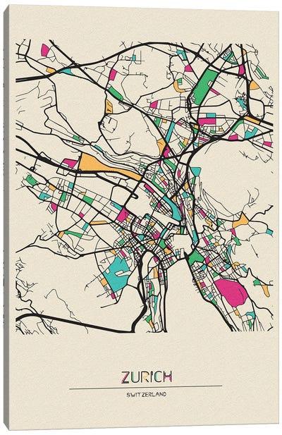 Zurich, Switzerland Map Canvas Art Print