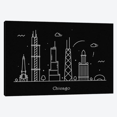 Chicago Canvas Print #ADA71} by Ayse Deniz Akerman Canvas Wall Art