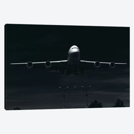 Black And Silver Study A380 Landing Full Canvas Print #ADB14} by Addis Brown Canvas Artwork