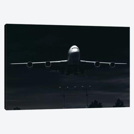 Black And Silver Study A380 Landing Full Canvas Print #ADB14} by Addis Brown Canvas Artwork