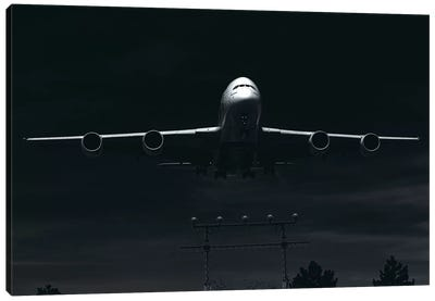 Black And Silver Study A380 Landing Full Canvas Art Print