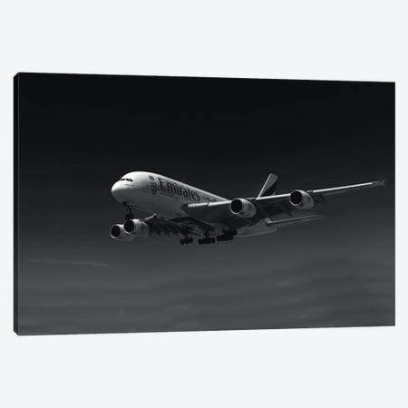 Black And Silver Study A380 Side View Canvas Print #ADB15} by Addis Brown Canvas Art