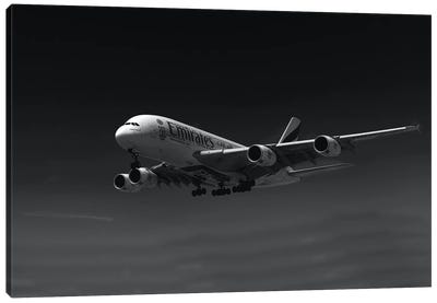 Black And Silver Study A380 Side View Canvas Art Print