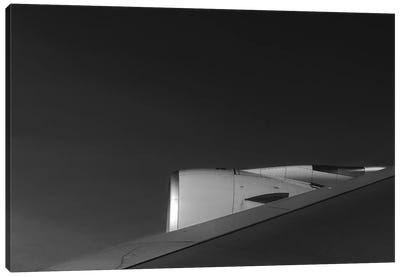 Black And Silver Study A380 Wing Canvas Art Print