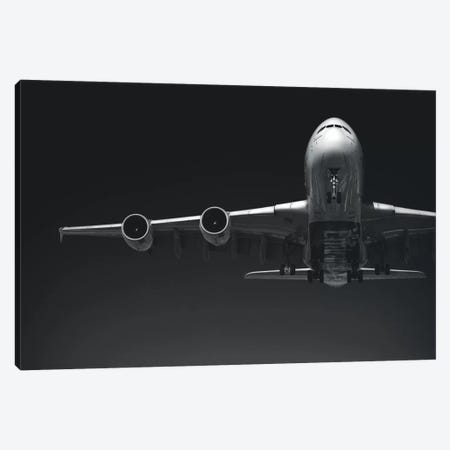 Black And Silver Study A380 Wing And Nose Canvas Print #ADB17} by Addis Brown Canvas Art