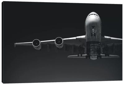 Black And Silver Study A380 Wing And Nose Canvas Art Print