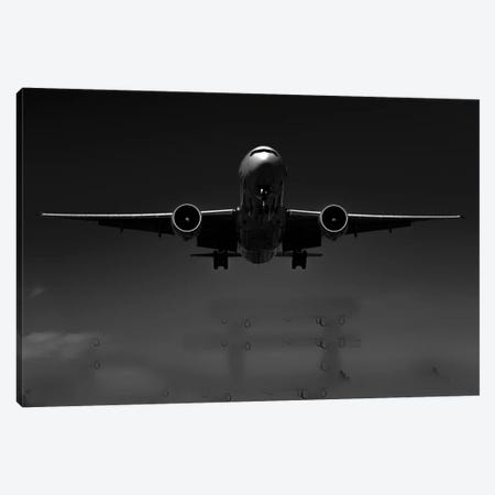 Black And Silver Study B777 Wings Spread Canvas Print #ADB19} by Addis Brown Art Print