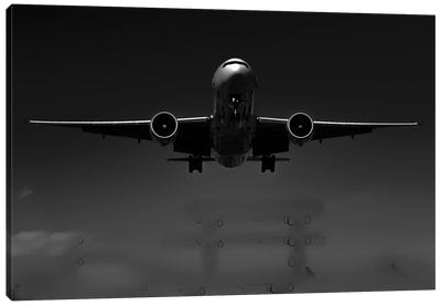 Black And Silver Study B777 Wings Spread Canvas Art Print