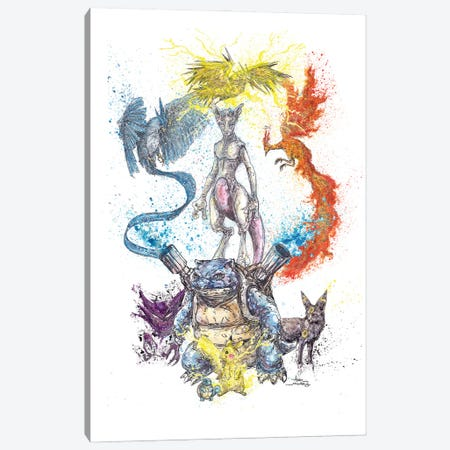 Pokemon Collage Squirtle Front Canvas Print #ADC108} by Adam Michaels Art Print