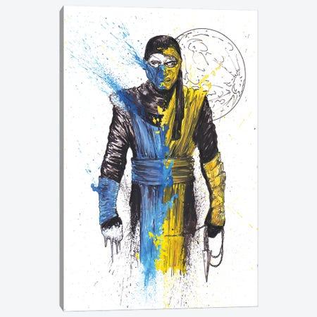 Scorpion SubZero Mashup Splatter MK Canvas Print #ADC116} by Adam Michaels Art Print