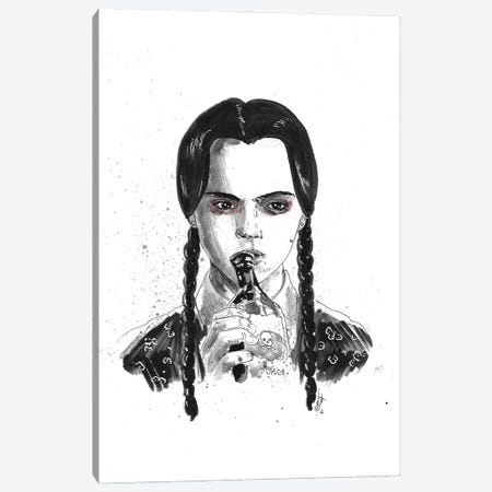Wednesday Addams Canvas Print #ADC138} by Adam Michaels Canvas Artwork