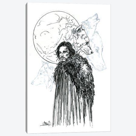 Game Of Thrones Snow B&W Canvas Print #ADC51} by Adam Michaels Canvas Artwork