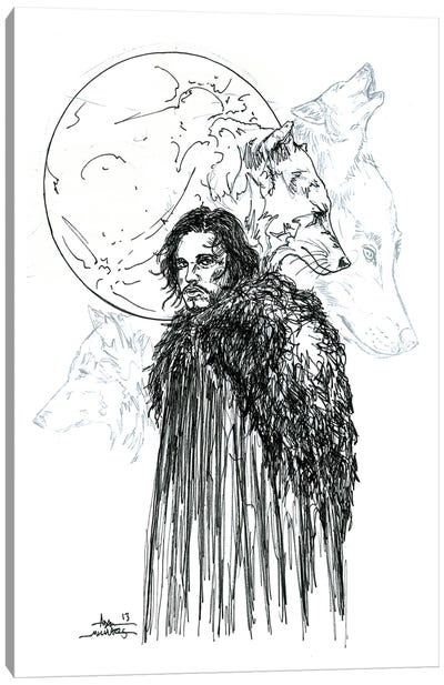 Game Of Thrones Snow B&W Canvas Art Print