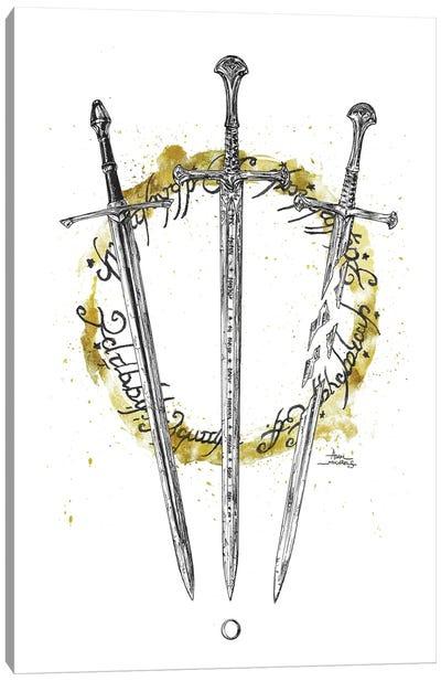 LOTR Swords Splatter Circle Canvas Art Print