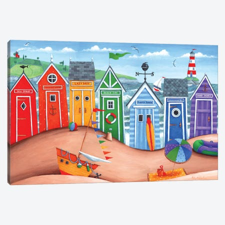 Beach Hut Rainbow Scene Canvas Print #ADD10} by Peter Adderley Canvas Print