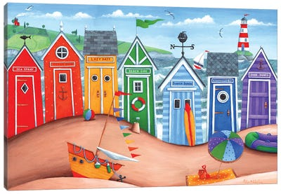 Beach Hut Rainbow Scene Canvas Art Print