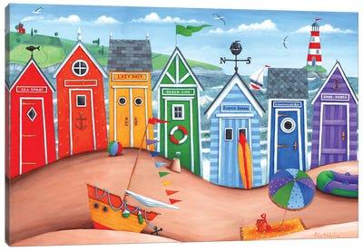 Beach Hut Rainbow Scene Canvas Art Print