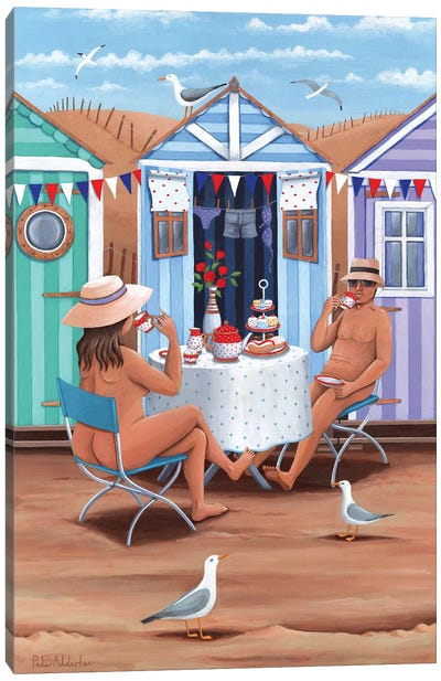 Beach Huts Afternoon Teas Canvas Art Print