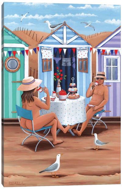 Beach Huts Afternoon Teas Canvas Art Print