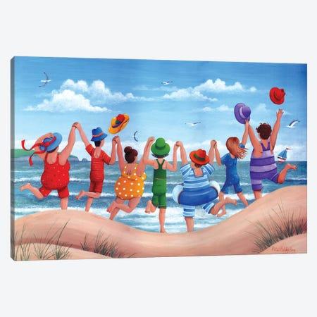 Beach Party Rainbow Scene Canvas Print #ADD12} by Peter Adderley Art Print