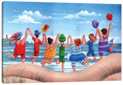 Beach Party Rainbow Scene Canvas Art Print