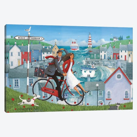 Bicycle Seascape Artwork Canvas Print #ADD13} by Peter Adderley Art Print