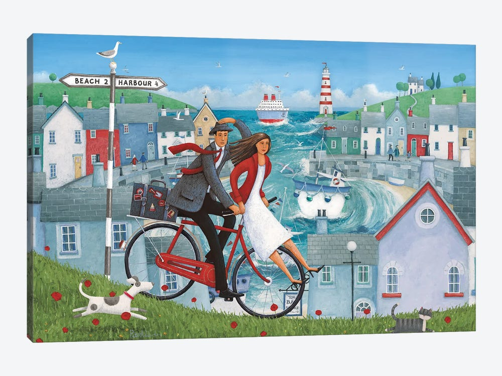 Bicycle Seascape Artwork by Peter Adderley 1-piece Canvas Print
