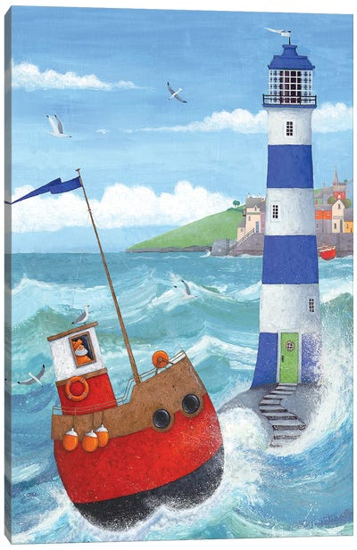 Blue Lighthouse Canvas Art Print