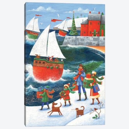 Christmas By The Sea Canvas Print #ADD17} by Peter Adderley Canvas Art