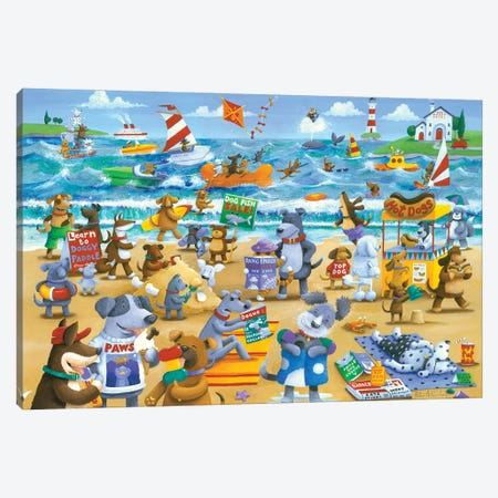 Dogs Beach Canvas Print #ADD21} by Peter Adderley Canvas Art