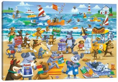 Dogs Beach Canvas Art Print