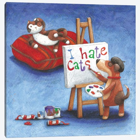 I Hate Cats Canvas Print #ADD35} by Peter Adderley Canvas Art