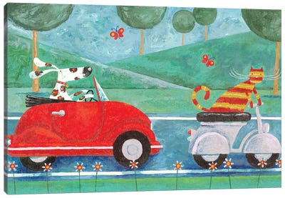 On The Road With Duke & Sweetpea Canvas Art Print