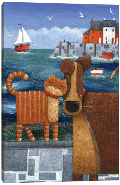 Pets By The Sea Canvas Art Print