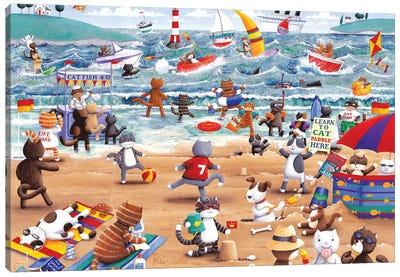 Beach Cats Canvas Art Print