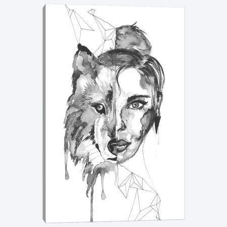 Wolf Woman Canvas Print #ADE58} by ANDA Design Canvas Artwork