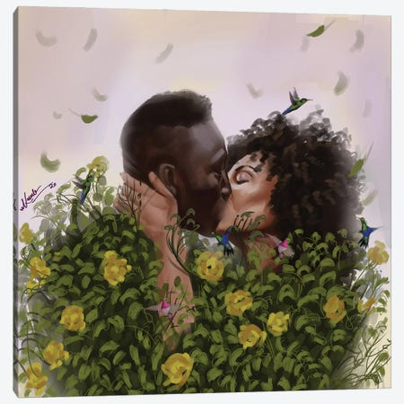 Kiss Green Canvas Print #ADK44} by Adekunle Adeleke Canvas Art