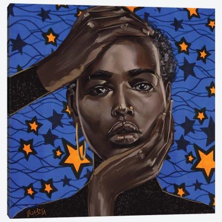 Blue Star (Wax Series) Canvas Print #ADK49} by Adekunle Adeleke Canvas Print
