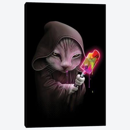 Cat Saber Ice Cream Canvas Print #ADL105} by Adam Lawless Canvas Artwork