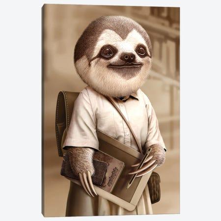 Sloth Go To School Canvas Print #ADL112} by Adam Lawless Canvas Art