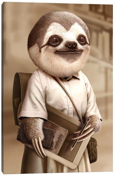 Sloth Go To School Canvas Art Print