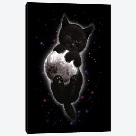 Cat Hugging Moon Canvas Print #ADL13} by Adam Lawless Canvas Print