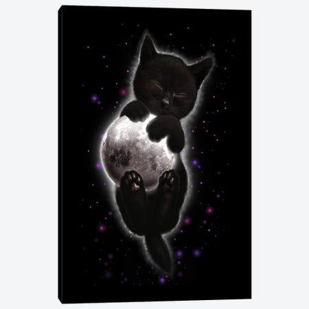 Cat Hugging Moon Canvas Print #ADL13} by Adam Lawless Canvas Print